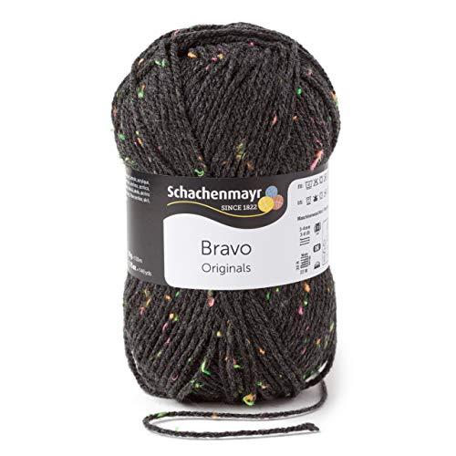 Schachenmayr Handstrickgarne Bravo, 50g Anthrazit Neon Tweed