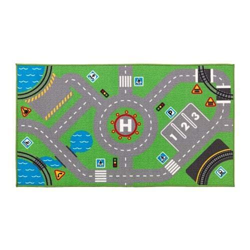 IKEA Kinderteppich Spielteppich 75 x 133 cm - Perfekt kombinierbar mit Spielzeugautos und Figuren aus der LILLABO Serie [Grün]