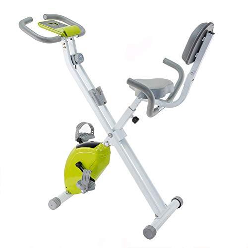 Wghz X-Bike, Heimtrainer zum Zusammenklappen des Heimtrainers, höhenverstellbares Indoor-Fahrrad, magnetisches Bremssystem mit 8 Widerstandsstufen, Weißgrün