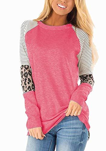 OMZIN Camiseta de manga corta para mujer con estampado de leopardo, cuello redondo, tallas S-XXXL Manga larga rosa claro. XXXL