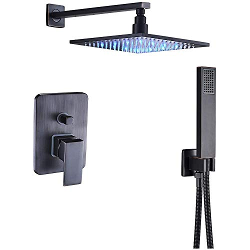 Rozin 10 Inch LED Light Bathroom Luxury Rain Mixer Shower Combo Set Wall Mounted Rainfall Shower Head System Oil Rubbed Bronze Shower Faucet Rough-in Valve Body and Trim Included
