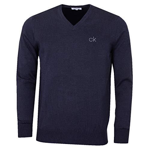 Calvin Klein Golf Hommes V-Neck Pull Tour - Denim Marl - XL