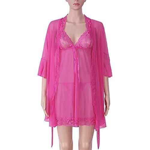 Nachtkleding Top Pyjama Sets 3 Stuk Vrouwen Transparant Mesh Onderjurk Robe nachtkleding Sets Nachtkleding Ondergoed (Color : Rose, Size : XL)