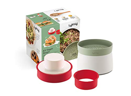 Lékué 8420460013174 Kit Veggie Burger, 1 Liter, Silicona, Rojo y verde
