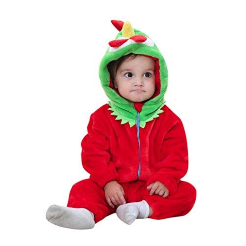 Hirolan Babykleidung Baby Strickjacke Tier Karikatur Kapuzenpullover Lange Hülse Strampelhöschen Jungen Mädchen Outfits Kleider Niedlich Party Overall Weich Materialien (80cm, Rot)