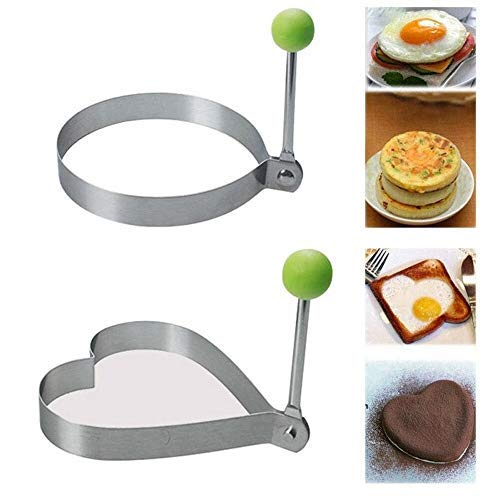 Fried Egg Ring for Frying Stainless Steel Pancake Maker Kitchen Gadget Tool Non Stick Omelettes Muffin Mould Heart Round Shape (Round + Heart)