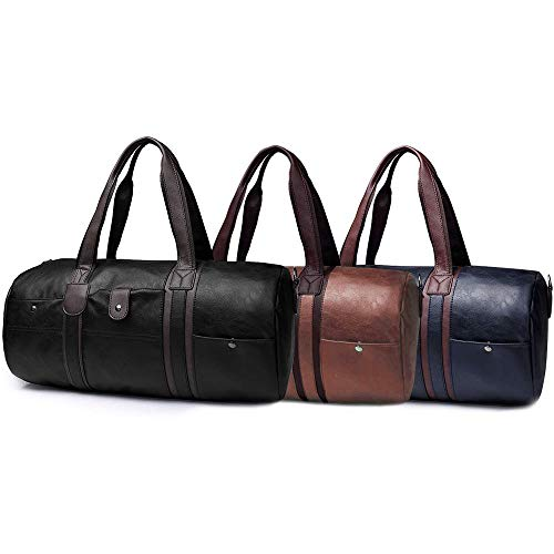 Top and Best Men's Leather Duffle Tote Bag Travel Gym Handbag #BHTY