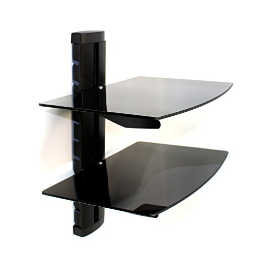 Tempered Black Glass Floating Shelf | Wall Mounted Shelving | Routers, DVD players, Controller Storage | Integrated Cable Management | M&W (2 Tier)