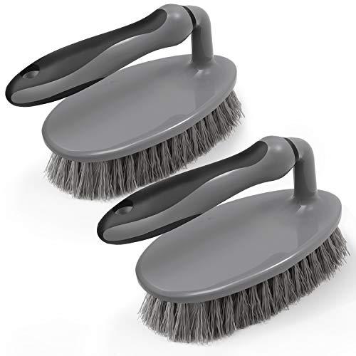 MR.SIGA Cepillo de fregado para Trabajo Pesado con Agarre cómodo, Servicio Pesado para lavamanos, Ducha, alfombras, Limpieza de Pisos, Paquete de 2