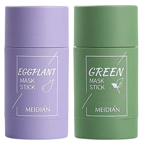 2 Pack Green Tea Purifying Clay Face Mask Stick Oil Control Anti-Acne Aubergine Fine Solid, Blackhead Remover Acne Cleansing Solid Face Mask Pores Shrink (1 x Green Tea+1 x Aubergine)