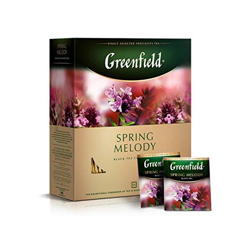 Greenfield Spring Melody, 100 Teebeutel [100 Tassen], Aromatisierter Schwarzer Tee mit Schwarzen Johannisbeeren, Minze und Thymian, Indischer Tee, Flavoured Black Tea, India, tea bags