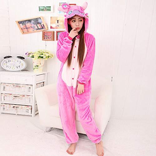 MA Pijama Pink Stitch Kigurumi Onesies Unisex Sleepsuit Pijamas para Adultos Disfraces de Cosplay Mono Animal para Hombre-Puntada Rosa_S