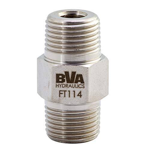 "BVA Hydraulics FT114 Male Connector Hex Nipple 3/8""-18 NPTF to Male 3/8""-18 NPTF"