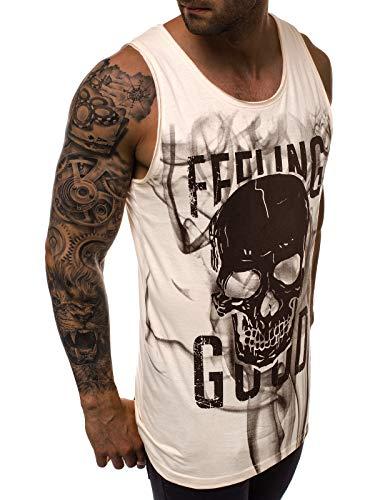 MOODOZ Herren Tanktop Tank Top Tankshirt T-Shirt Unterhemden Ärmellos Muskelshirt Sport Weste O/01259 BEIGE XL