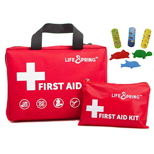 First Aid Kit for Happy Kids - 164 Piece Fully Stocked Emergency Kit Plus Kid Supplies, Bonus Mini Kit, CPR Mask, and Ice Pack for Home, Car, Childcare, Sports, Hiking, Camping ~ 38 Unique Items
