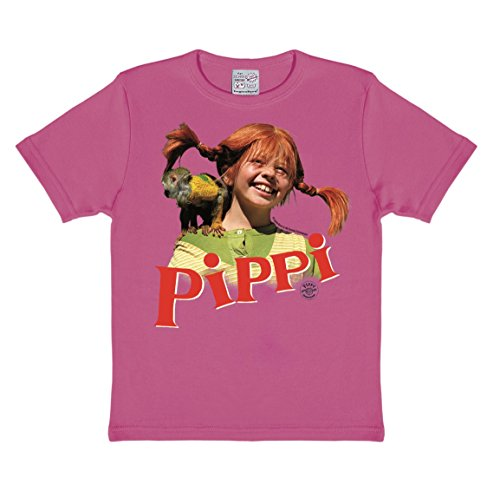 Logoshirt - Pippi Langstrumpf T-Shirt Kinder Mädchen - Äffchen Herr Nilsson - pink - Lizenziertes Originaldesign, Größe 104/116, 4-6 Jahre, pink, 104