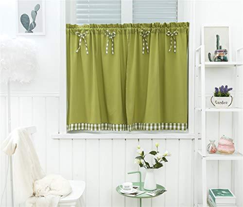 Dreamskull Cortinas cortas para ventanas pequeñas, cortas, estilo rústico, opacas, cortas, modernas, de cocina, a cuadros, 90 cm de alto, juego de 2 unidades para salón (verde, 74 x 90 cm*2)