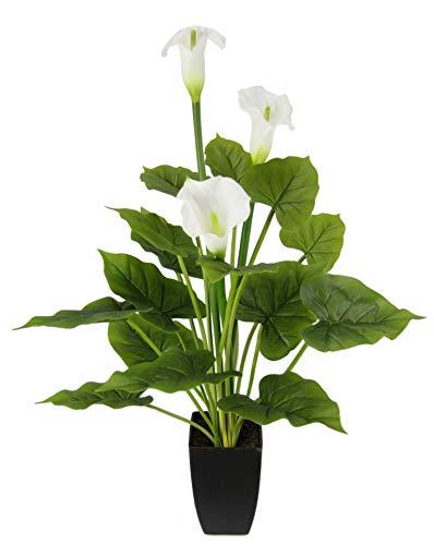 Flair Flower Kunstpflanze Calla im Topf mit weißen Blüten Künstliche Blumen Kunstblumen Seidenblumen Blumen aus Kunststoff Unechte Künstliche Deko Gefälschte Blumen