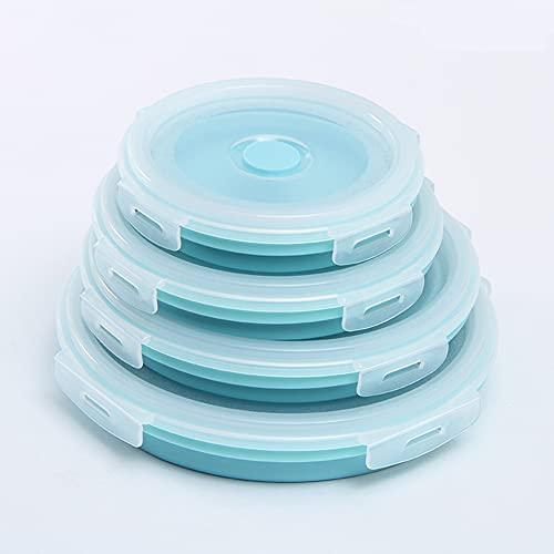 4 Piezas Recipientes De Silicona Para Alimentos Fiambrera De Silicona Plegable Almacenamiento De Alimentos Fácil De Llevar Contenedores Para, Microondas, Congelador Y Lavavajillas/Blue