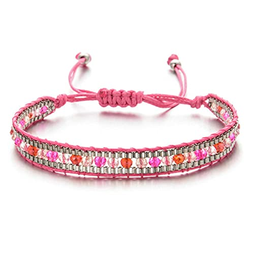5pcs womens bracelet fashion jewelry European and American retro ethnic style colored crystal beads multi-layer rope bracelet