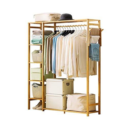 Garderobenständer Garderobe,Kleiderständer, Bambus-Holz-Multifunktions-Mantelständer, Bodenstehendes Schlafzimmer, Einfache Moderne Kleiderablage, Hauptgarderobe
