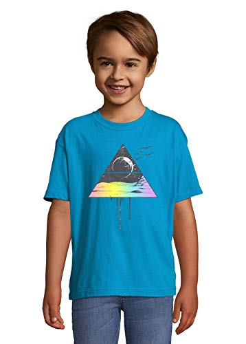 Cosmic Illuminati Desert Abstract Moon and Birds Graphic Blue Colorful Kids T-Shirt 2 Year Old