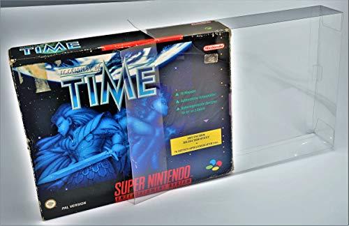 5 x Klarsicht Schutzhüllen für Super Nintendo BIG BOX OVP 0,3mm SNES Passgenau und Glasklar-PET-Reset Retro Game Protectors-cases-box-Staubdicht-UV-Schutz