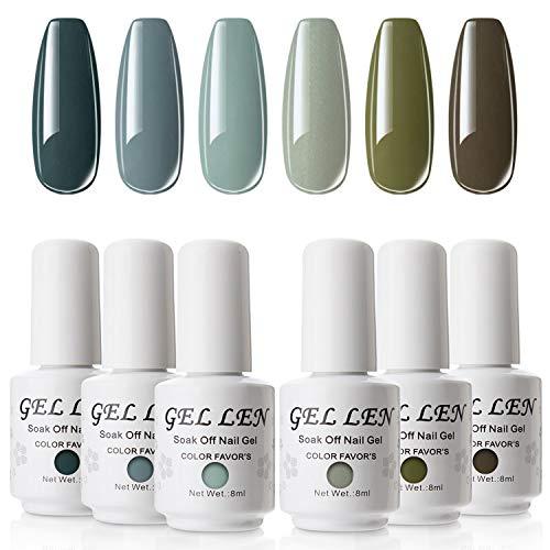 Gellen ジェルネイル カラージェル 6色セット ポリッシュタイプ グリーン系 ミント セルフネイル