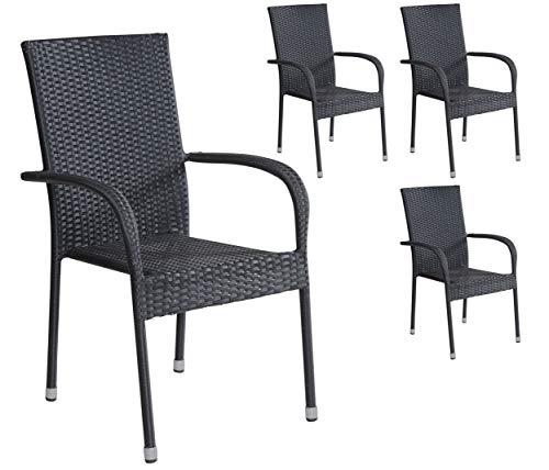 4er Set Stapelstühle Armlehnstühle Gartenstühle in schwarz mit Armlehnen exkl. Auflage stapelbar für Garten, Terrasse, Balkon - Gartenmöbel Stühle Terrassenstuhl Balkonstuhl Stuhl Gastro