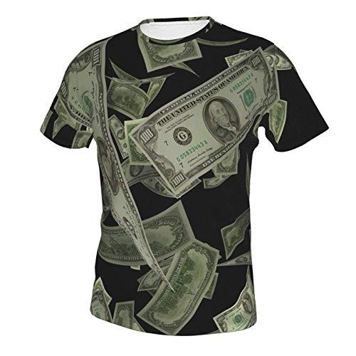 Uomo 3D Modello Stampa T-Shirt Moda Fit Top Estate Grafica Tee Shirt Centinaia di Dollaro Fatture Denaro Tema Style multicolore L