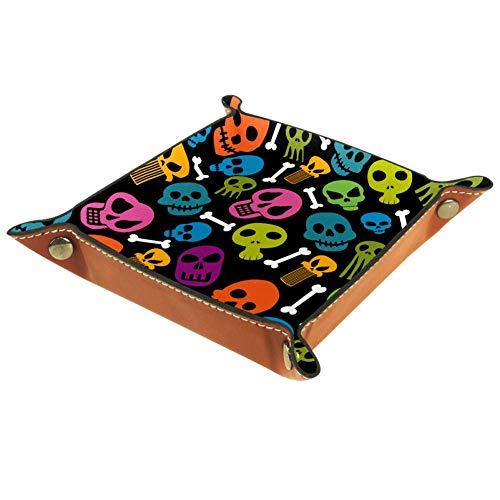 Amili - Bandeja de piel decorativa para joyas, diseño de calavera de color negro con hebilla para colocar dados, llaves, teléfono, monedas, relojes, etc., café
