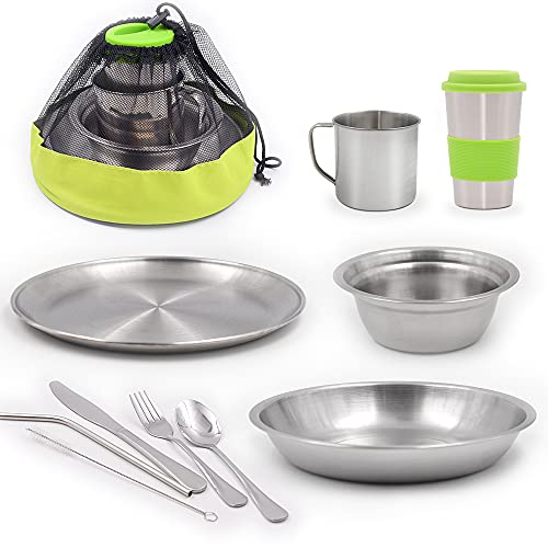 HIKPEED 10-Piece Camping Mess Kit, Stainless Steel Camping Dishes Set Dinnerware for 1-2 Person Utensils Tableware with Cups, Plates, Bowl, Cutlery, Mesh Bag for Backpacking Hiking Picnic RV Travel
