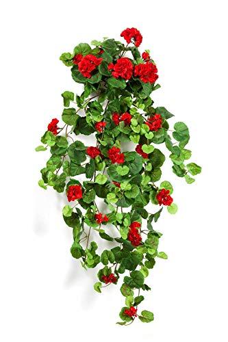 artplants.de Decorativos geranios XXL MIEKE para Colgar, en Vara de Ajuste, Rojo, 100cm, Ø 40cm - Planta Artificial - Pelargonium sintético