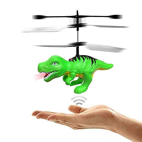 Pkjskh RC Fliegen Hubschrauber Dinosaurier-Spielzeug Mini-Fernbedienung und Handbuch Dinosaurier-Hubschrauber-Spielzeug Tyrannosaurus Quad-Rotor Fernbedienung Induktion Schwimm Licht Spielzeug fliegen