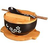 Tazón de cerámica pintada a mano de estilo japonés Tazón de ramen Estera de aislamiento Sopa creativa Tazón de fideos con tapa Cuchara Palillos Tazón grande Tazón de sopa Tazón de microondas