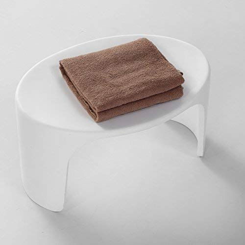 KKR Design - Sgabello da bagno in pietra artificiale, modello Stool-D, superficie lucida