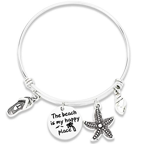 Beach Gifts Bracelet for Women The Beach is My Happy Place Bracelet Expandable Stainless Steel Bangle Beach Theme Gifts for Beach Lovers