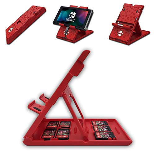 Nintendo Switch Game Case PlayStand with 7 Cards Holder for Travel Carrying - Mario Red Mushroom