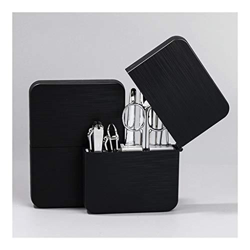 Kit de cortaúñas para manicura y pedicura, 7 piezas, profesional, para hombres y aseos, kit portátil de acero inoxidable de viaje con carcasa de plástico, pinzas de uñas (color negro B)