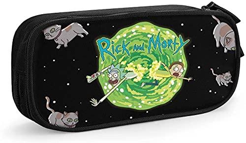 KINGAM Anime - Estuche de gran capacidad con cremallera resistente a la suciedad para llevar en la escuela y la oficina, Rick y Morty-1