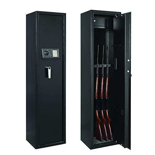Rifle Safe Gun Cabinet,Electronic Rifle Safe for Home,Quick Access 5-Gun Safe for Large Firearm and Shotguns,Security Gun Storage Cabinets with Pistol Handgun Lock Box