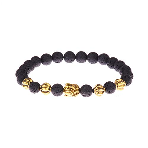 ADGJL Stone Bracelet Women,7 Chakra Natural Volcanic Lava Stone Bead Bangle Yoga Prayer Reiki Bracelet Fashion Golden Buddha Jewelry For Women Couple