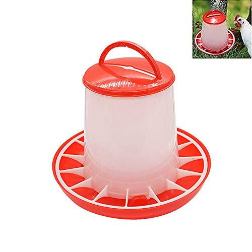 1,5 kg Kunststoff Futterautomat Huhn Küken Henne Geflügel Deckel Griff Baby Küken Futterautomat Geflügel Feeder und Trinker Gänse Enten Futtertrog zum Aufhängen oder Stehen (Rot)