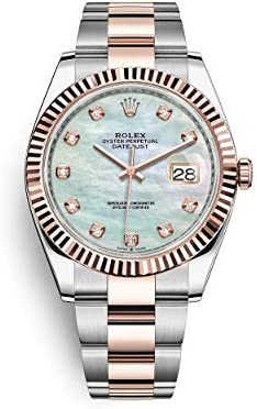 Rolex Datejust 41 Two Tone Oystersteel and 18k Everose Gold/Oyster Bracelet / 126331-0013 / White Mother of Pearl Diamond Dial