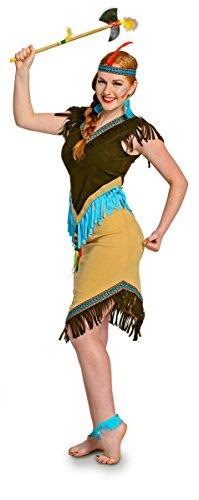 Folat 63318 - Disfraz de Indio para Mujer (2 Piezas, Wild West, L, marrn, Azul, L)