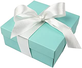 AerWo 10pcs Party Wedding Favors Bag + 10pcs Silk Ribbon, Mini Large Square Turquoise Candy Box with Lids for Wedding Supply, Birthdays, Bridal and Baby Showers (Aqua Blue)