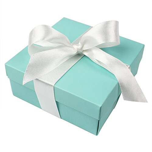 AerWo 10pcs Party Wedding Favors Bag  10pcs Silk Ribbon Mini Large Square Turquoise Candy Box with Lids Jewelry Teal Gift Favors Boxes for Wedding Supply Birthdays Bridal and Baby Showers