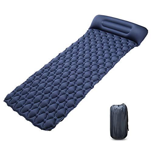 CHCHO Isomatte Ultraleichte luftmatratze Schlafmatte, Lycra-Tuch, Breite 80cm, Dicke 7cm, Unabhängiges aufblasbares Kissen, 3-Schicht-Ventil, Tragbar, Geeignet für Camping Wandern usw, Dunkelblau