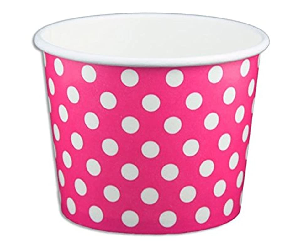 Black Cat Avenue Paper Ice Cream Cups, Polka Dot, Pink, 12 Ounce, 50 Count