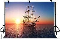 新しい7x5ft海のボートの写真の背景誕生日パーティーの日没の背景ベビーシャワーの装飾バナー写真スタジオの小道具95